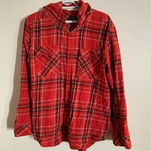 TNA Plaid Hooded Button Up